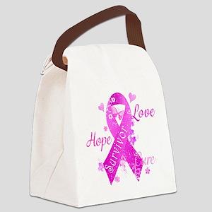 Survivor Love Hope Cure Canvas Lunch Bag