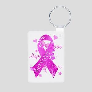Survivor Love Hope Cure Aluminum Photo Keychain