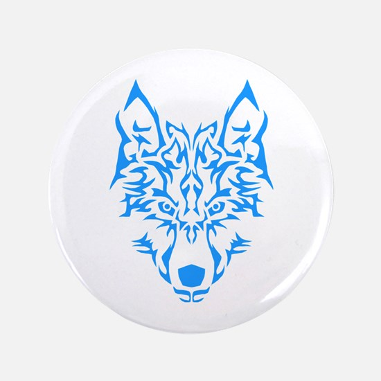 "Blue Tribal Wolf 3.5"" Button"