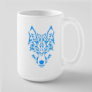 Blue Tribal Wolf Mugs
