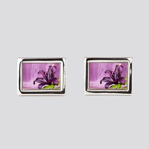 Lily With Waterfall in Purple Rectangular Cufflink
