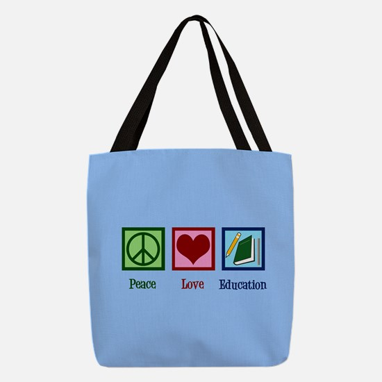 Education Peace Love Polyester Tote Bag