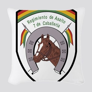 Bolivia military Badge 7 de Ca Woven Throw Pillow