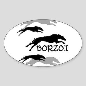 Many Borzois Running Oval Sticker
