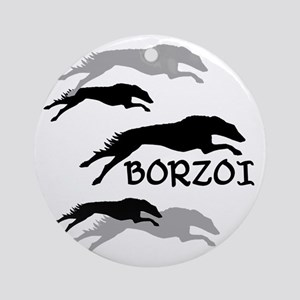 Many Borzois Running Round Ornament