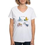 Dogs on Bikes Women's V-Neck T-Shirt
