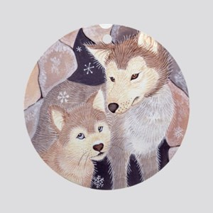 Wolves in snow ornament