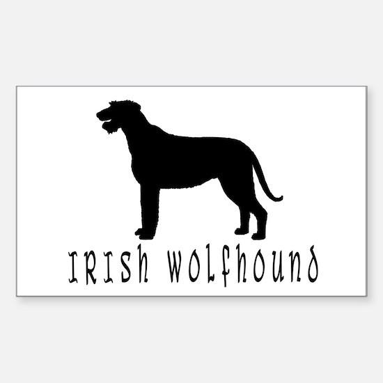 Irish Wolfhound w/ Text #2 Rectangle Decal