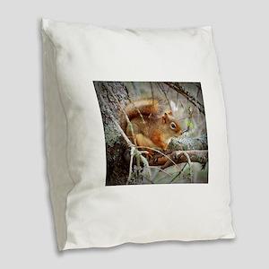 Red Squirrel Burlap Throw Pillow