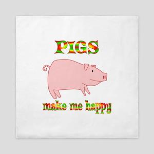 Pigs Make Me Happy Queen Duvet
