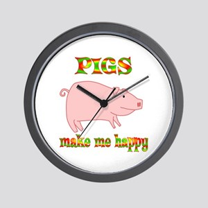 Pigs Make Me Happy Wall Clock
