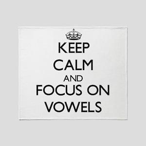 Keep Calm by focusing on Vowels Throw Blanket