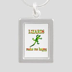 Lizards Make Me Happy Silver Portrait Necklace