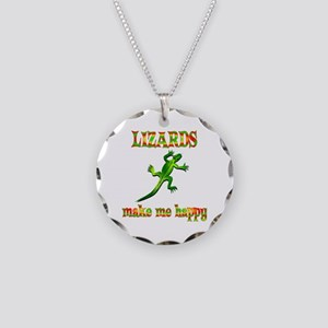 Lizards Make Me Happy Necklace Circle Charm