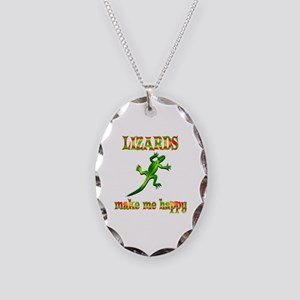 Lizards Make Me Happy Necklace Oval Charm