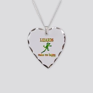 Lizards Make Me Happy Necklace Heart Charm
