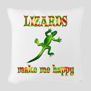 Lizards Make Me Happy Woven Throw Pillow