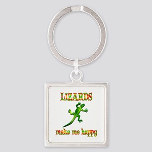 Lizards Make Me Happy Square Keychain