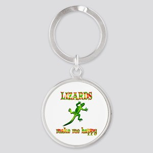 Lizards Make Me Happy Round Keychain