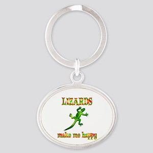 Lizards Make Me Happy Oval Keychain