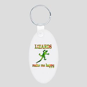 Lizards Make Me Happy Aluminum Oval Keychain