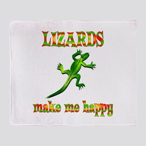 Lizards Make Me Happy Throw Blanket