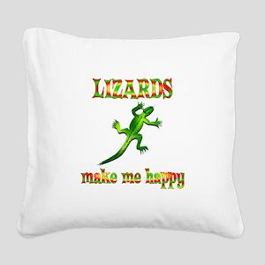 Lizards Make Me Happy Square Canvas Pillow