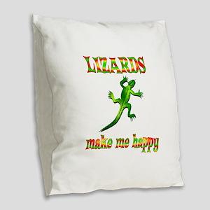 Lizards Make Me Happy Burlap Throw Pillow