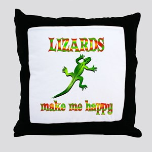 Lizards Make Me Happy Throw Pillow