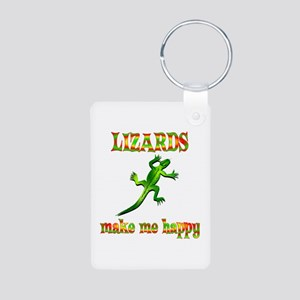 Lizards Make Me Happy Aluminum Photo Keychain