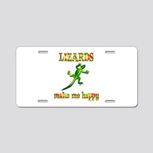 Lizards Make Me Happy Aluminum License Plate