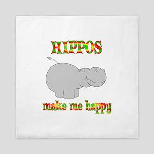 Hippos Make Me Happy Queen Duvet