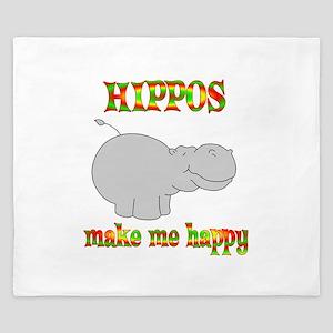Hippos Make Me Happy King Duvet