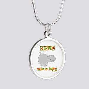 Hippos Make Me Happy Silver Round Necklace