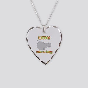 Hippos Make Me Happy Necklace Heart Charm