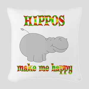 Hippos Make Me Happy Woven Throw Pillow