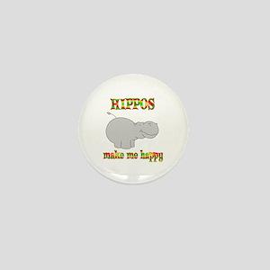 Hippos Make Me Happy Mini Button