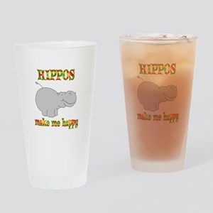Hippos Make Me Happy Drinking Glass