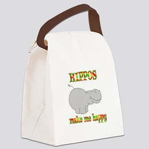 Hippos Make Me Happy Canvas Lunch Bag