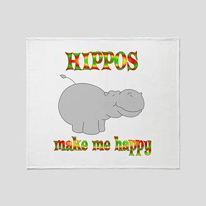Hippos Make Me Happy Throw Blanket