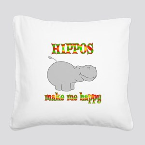 Hippos Make Me Happy Square Canvas Pillow
