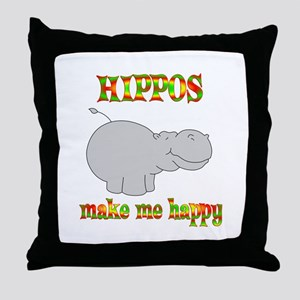 Hippos Make Me Happy Throw Pillow