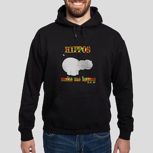 Hippos Make Me Happy Hoodie (dark)