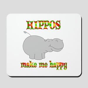 Hippos Make Me Happy Mousepad