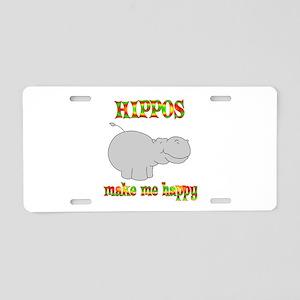 Hippos Make Me Happy Aluminum License Plate