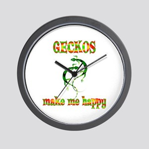 Geckos Make Me Happy Wall Clock