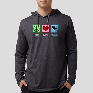 Peace Love Moose Mens Hooded Shirt