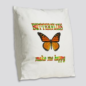Butterflies Make Me Happy Burlap Throw Pillow