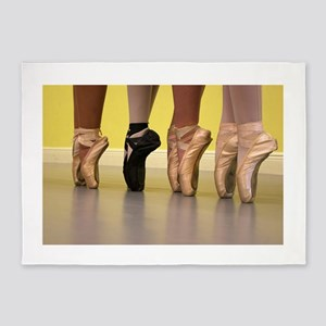 Ballet Dancers on Pointe or on Toes 5'x7'Area Rug
