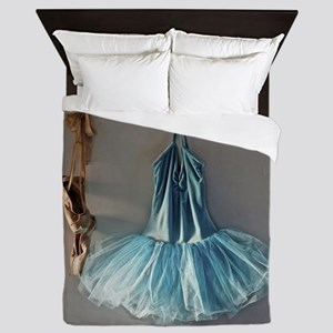 Blue Ballet Tutu Costume and Worn Pointe Shoes Que